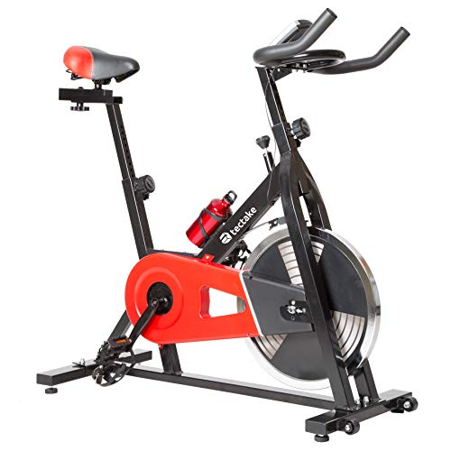 tectake 401714 Bicicleta Estática Fitness Máquina Bici Cardio con Monitor Ejercicio Físico