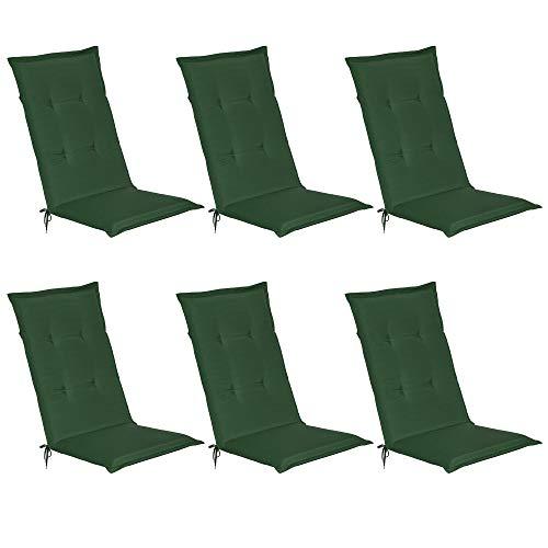 Beautissu Loft HL - Set de 6 Cojines para sillas tumbonas mecedoras de balcón o Asiento Exterior con Respaldo Alto - 120x50x6 cm - Placas compactas de gomaespuma - Verde Oscuro