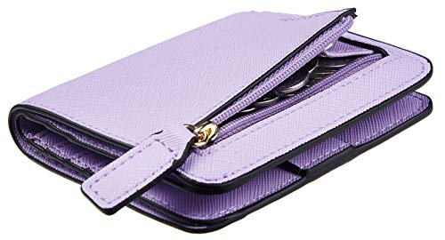 Toughergun Womens Rfid Blocking Small Compact Bifold Leather Pocket Wallet Ladies Mini Purse with ID Window (CH Light Purple)