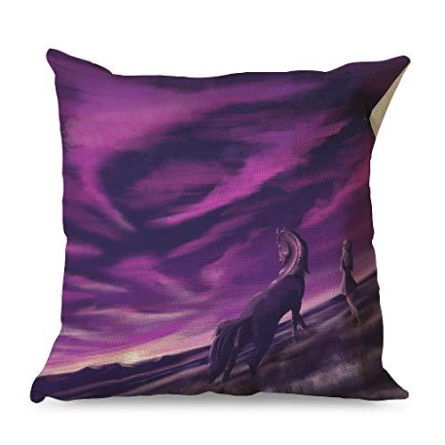 CCMugshop Fantasy - Funda de cojín para cama (45 x 45 cm), diseño de caballo y cielo