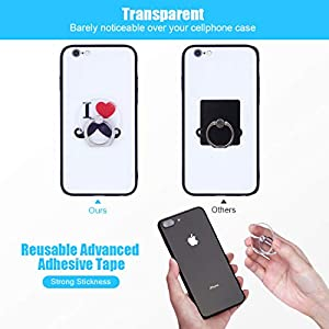Phone Ring Transparent Cell Phone Ring Holder 360 Degree Rotation 180 Degree Flip Phone Ring Grip Finger Ring Stand…