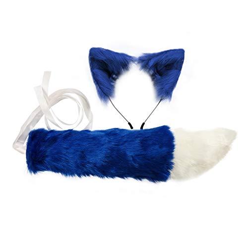 Leiouser - Diadema de piel sinttica con orejas de lobo, juego de cola larga, color caramelo, disfraz de anime para cosplay, disfraz de Halloween para adultos y nios