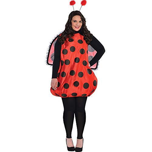 Amscan Darling Ladybug Halloween Costume for Women, Plus Size, Headband, Wings Included (Leg Warmers Not Included)