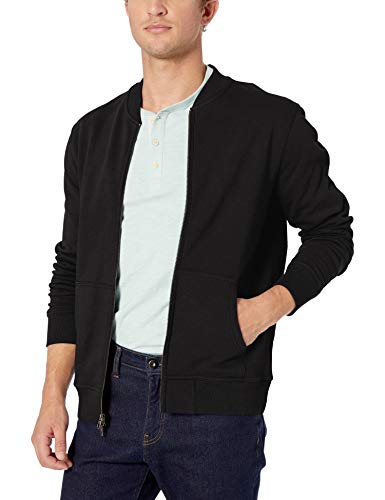 Amazon Brand - Goodthreads Men's Fleece Bomber, Black Medium