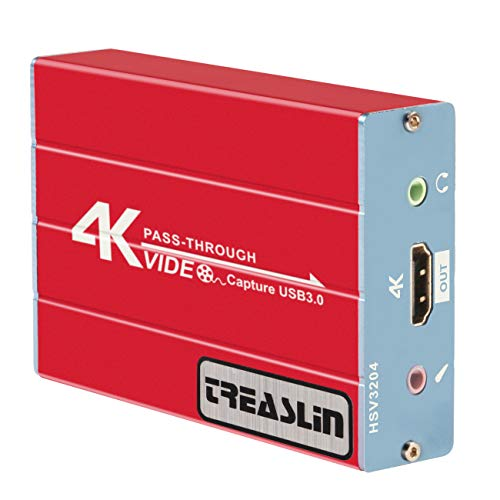 Carte de Capture HD 1080P, USB 3.0, Compatible Windows 7/8/10, Nintendo Switch Linux Youtube OBS Twitch PS 4, Sortie Audio avec Microphone 3,5 mm, TSV 3212 TreaLin