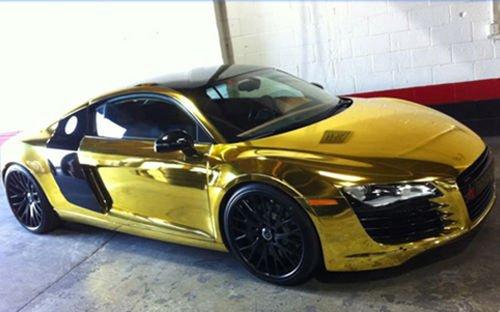 speedwerk-Motorwear Stretchable chroom goud voor 3D plakken 1,52 m breed auto wrapping, chroomfolie 1m x 1,52m