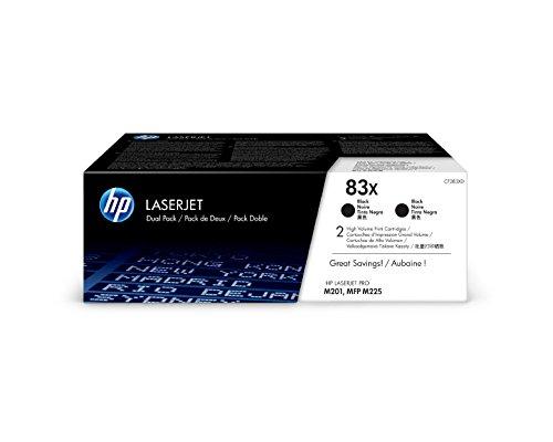 HP 83X - Paquete de 2 cartuchos de tóner negro Originales HP LaserJet de alta capacidad, color negro
