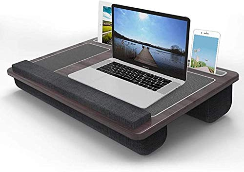 Keyboards Compact Lap Desk With Double Mouse Pad, Multifunction Laptop Book Work Table, Removable Wood Writing Platform On Bed & Sofa, Fits Computer Up To 12'-A