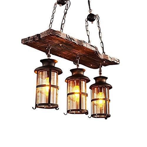 Retro lampada a sospensione in legno nero dell'annata ferro e vetro del paralume Lampada a sospensione for The Living Room Isola della cucina pranzo Lampadari in camera Tavolo Bar Loft Rustic zhuang94