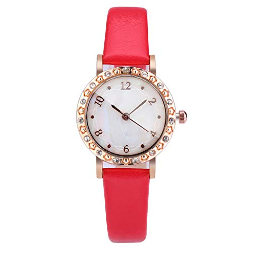 UINGKID Damen Armbanduhr Analog Quarz Mode Shell Dial Diamond verkrustete konvexen Glas einfaches Temperament Damenuhr