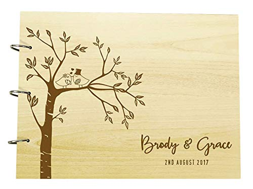 Engraved Trees Couple Birds Wedding Guest Book Personalized Name and Date Photo Albums