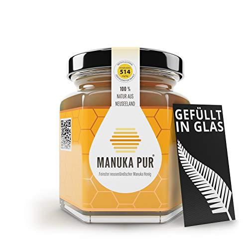 MANUKA PUR - Premium Manuka Honig aus Neuseeland - 100% reiner Manuka-Honig ohne Zusatzstoffe - Überprüfter Methylglyoxal Gehalt - Laborgeprüfte Qualität (MGO 514+, 250g)
