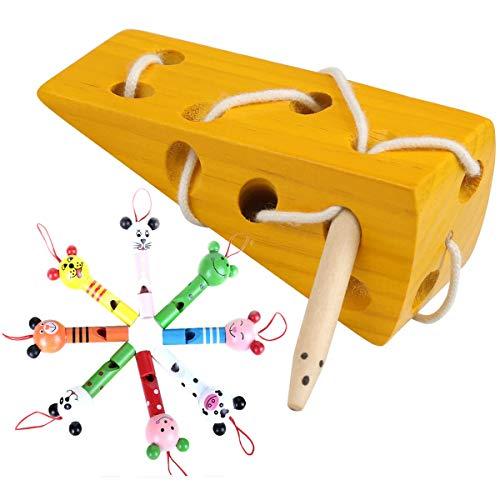 Mengger Juguetes de Madera Montessori Cheese Rosca Cordon Madera Puzzle Niños Aprendizaje Temprano Educativo Bloque de Madera Rompecabezas de Juguete Con 8Pcs silbato
