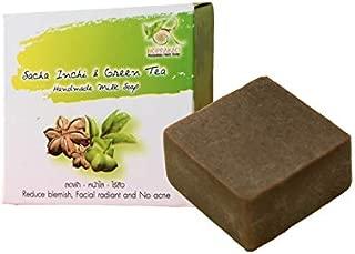 100% ORGANIC HANDMADE NATURAL RICE MILK SOAP SACHA INCHI GREEN TEA for All Skin Anti Acne/Cleansing Makeup/Brightening skin/Reduce Aging (2.12 OZ/BAR)