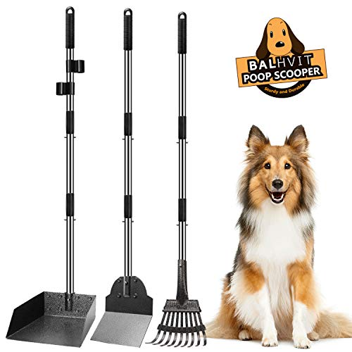 Balhvit Dog Pooper Scooper, Adjustable Long Handle Metal Tray, Rake and Spade Poop Scoop, Ergonomic Length, Strong and Sturdy, Pet Waste Removal for Large Dogs and Pets, Great for Lawns & Gravel