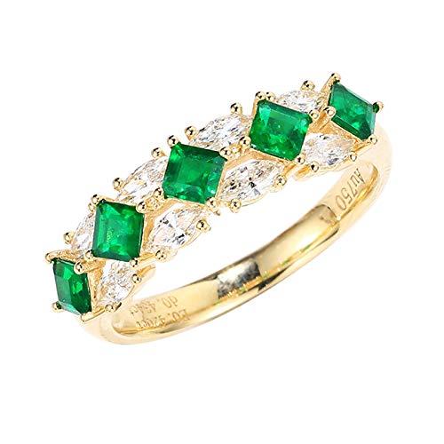 AueDsa Anillo Oro Anillos de Oro Mujer 18 Kilates Rombo Esmeralda Verde Blanca 0.4ct Anillo Talla 8