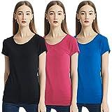 KELOYI Camisetas Mujer Cuello Redondo Verano Justada Manga Corta Basica Blusas Rojo Mujer Ropa Mujer Verano 2021 Negro...