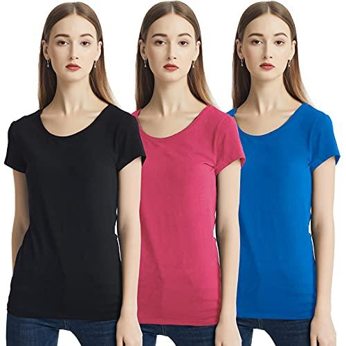 KELOYI T-Shirt Donna Scollo Tondo Maglietta Manica Corta Rosso Estive Slim Fit T Shirt Magliette Abbigliamento Donna Cotone Nero Blu Pacco da 3 XL