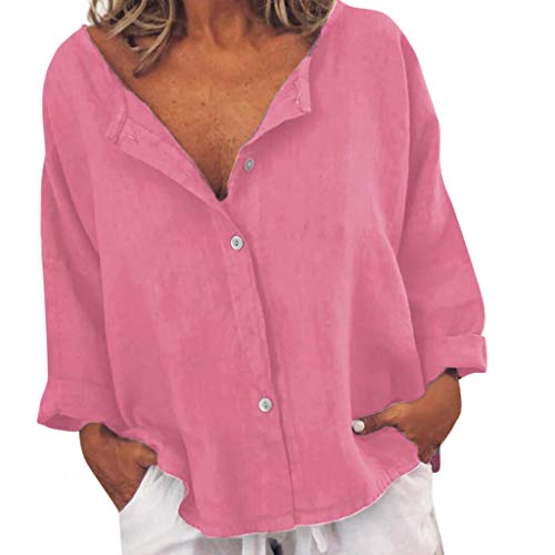 Yvelands Damen T-Shirt Tops Sommer Baumwolle Leinen Lässig geknöpft-Dekor Bluse(Rosa,CN-L)