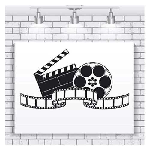 Etiqueta de la pared para cine en casa, película, decoración de la habitación, película, vinilo, calcomanía de pared, cine, película, proyector, póster de pared 42cmx23cm