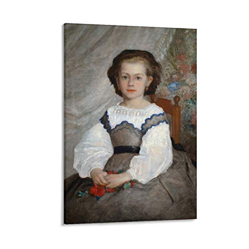 Póster de Pierre Auguste Renoir Mademoiselle Romaine Lascaux con pintura sobre lienzo para pared, impresión de pared de sala de estar, decoración para el hogar, 50 x 75 cm