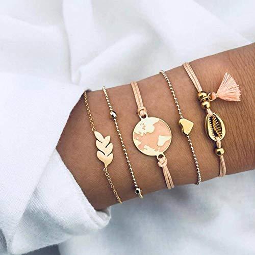 DMUEZW Dames Mode Kristal Bladeren Geometrische Ketting Gouden Armband Set Vintage Sieraden Armband Set