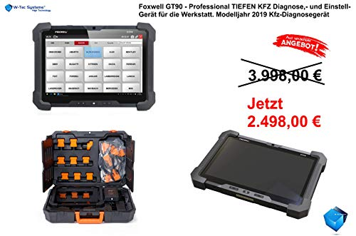 W-Tec Systems Foxwell GT90 Professional Edition - TIEFEN KFZ Diagnose,- und Einstell-Gerät für die Werkstatt. Modelljahr 2019 Kfz-Diagnosegerät