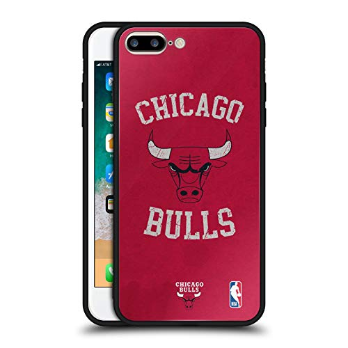 Official NBA Distressed Look 2019/20 Chicago Bulls Black Hybrid Glass Back Case Compatible for Apple iPhone 7 Plus/iPhone 8 Plus