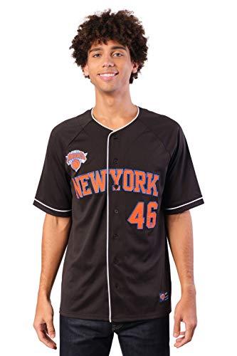 Ultra Game NBA New York Knicks Mens Mesh Button Down Baseball Jersey Tee Shirt, Black, Large