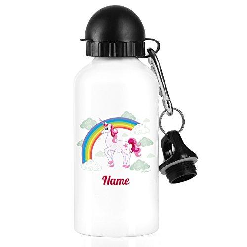 Striefchen® Trinkflasche für Kinder mit Einhorn mit Wunschnamen Weiß