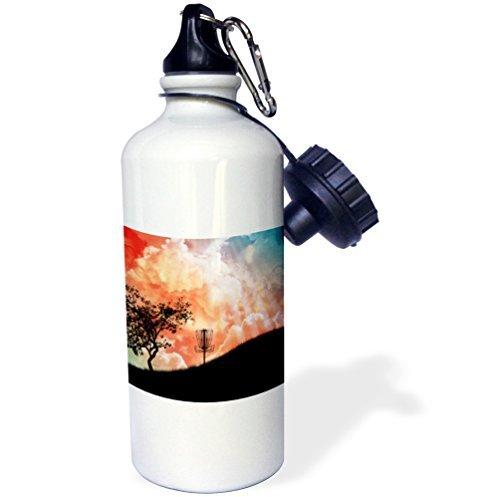 Korb auf einem Hügel Silhouette der Frisbee Disc Golf Korb mit Ketten Sport Wasser Flasche Edelstahl-Flasche für Frauen Herren Kinder 400ml