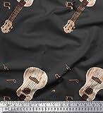 Soimoi Grau Baumwolle Batist Stoff Noten & Gitarre