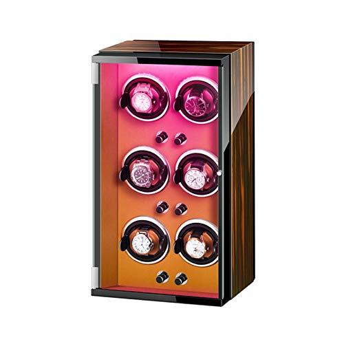 YXFYXF Reloj Caja de Winder para 6 Reloj automático con Luces Coloridas Almohadas de Relojes Ajustables Motor silencioso para Hombres Mujeres Wat (Color : -)