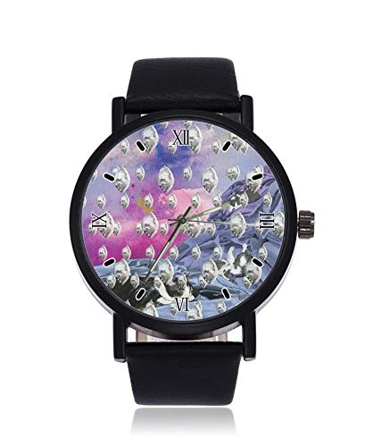 Silberfarbene Fisch-Hintergrundbild, ultradünne Herren-Damen-Armbanduhr, Business Casual Sport Quarzuhr für Frauen Herren wasserdichte Unisex Armbanduhr