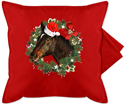 Shirtracer Weihnachten Kissen - Pferd mit Weihnachtsmütze im Kranz - Unisize - Rot - Pferde Kissen - GURLI Kissenhülle - Kissenbezug 50x50 cm und Dekokissen Bezug
