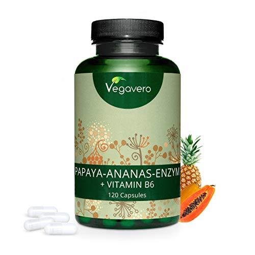 Papaina (Papaya) e Bromelina (Ananas) + Vitamina B6 | digestione – cellulite – antinfiammatorio| 120 capsule | Vegan