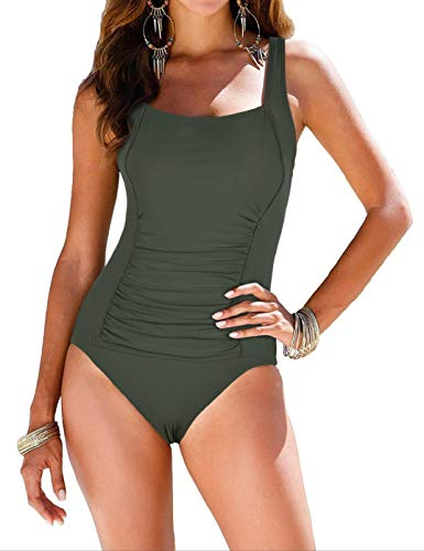 Firpearl Women's Retro Halter One Piece Bathing Suit Ruched Tummy Control Swimsuit Deep Green US16