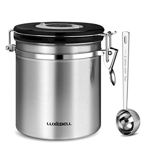 [Barattolo per Caffè] Luxebell 1.2 L/ 500g Contenitore in Acciaio Inox a Chicco di Caffè / Barattolo per il Caffè, Tè, Cacao, Cereali, Pasta, Farina d'Avena, Indennità un Cucchiaio di Acciaio Inox