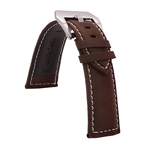 Correa de reloj de cuero de grano marrón de 22 mm de la correa de reloj de las bandas de costura