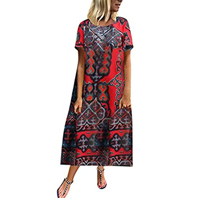 2019 Fashion!Women Linen Maxi Dress Summer Casual Beach Loose Short Sleeve O Neck Retro Printed Long Dresses Red from Leewos