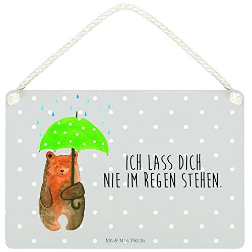 Mr. & Mrs. Panda Spruchschild, Werbeschild, A5 Deko Schild Bär mit Regenschirm mit Spruch - Farbe Grau Pastell