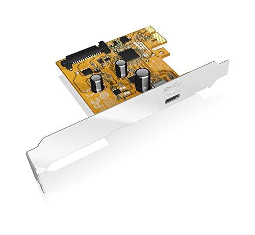 Icy Box IB-U31-01 PCI-Express 3.0 (x1) Erweiterungskarte mit 1x USB 3.1 Anschluss (Gen 2 - Type-C), 10 Gbit/s, Full Profile & Low Profile, Silber
