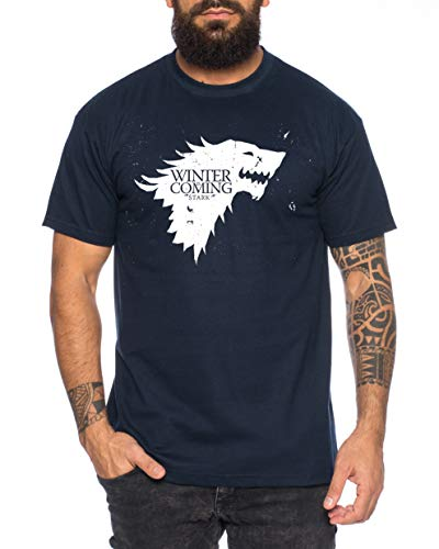 Coming Game Camiseta de Hombre Cool Thrones Shirt, Farbe2:Azul Oscuro, Größe2:XX-Large