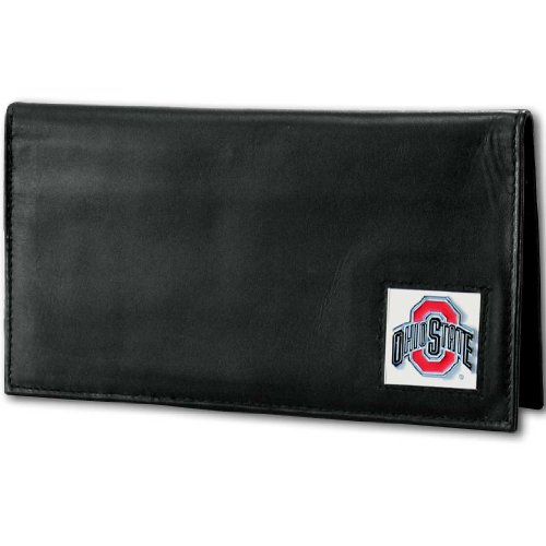 NCAA Siskiyou Sports Fan Shop Ohio State Buckeyes Deluxe Leather Checkbook Cover One Size Black