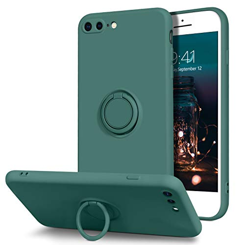 BENTOBEN iPhone 8 Plus Case, iPhone 7 Plus Case, Slim Silicone Soft Rubber with 360° Ring Holder Kickstand Car Mount Supported Protective Cases for Apple iPhone 8 Plus/iPhone 7 Plus, Midnight Green