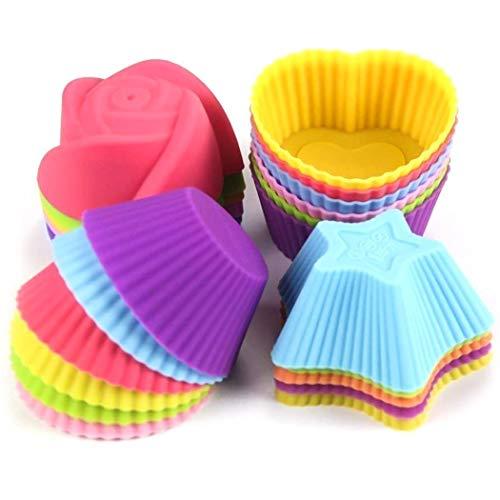 LKE Muffinform Silikon, 24 Stück Wiederverwendbare Umweltfreundliche Backförmchen, Darunter 4 Verschiedene Formen und 6 Farben von Cupcake Formen Geeignet für Geschirrspüler