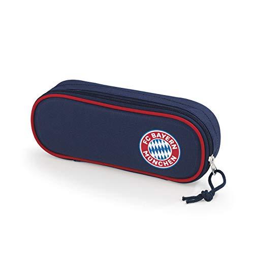 FC Bayern München Mäppchen | Single Faulenzer Federmappe für Jungen und Mädchen | FCB Fanartikel Schulbedarf Federmäppchen für Kinder (Blau/Rot)