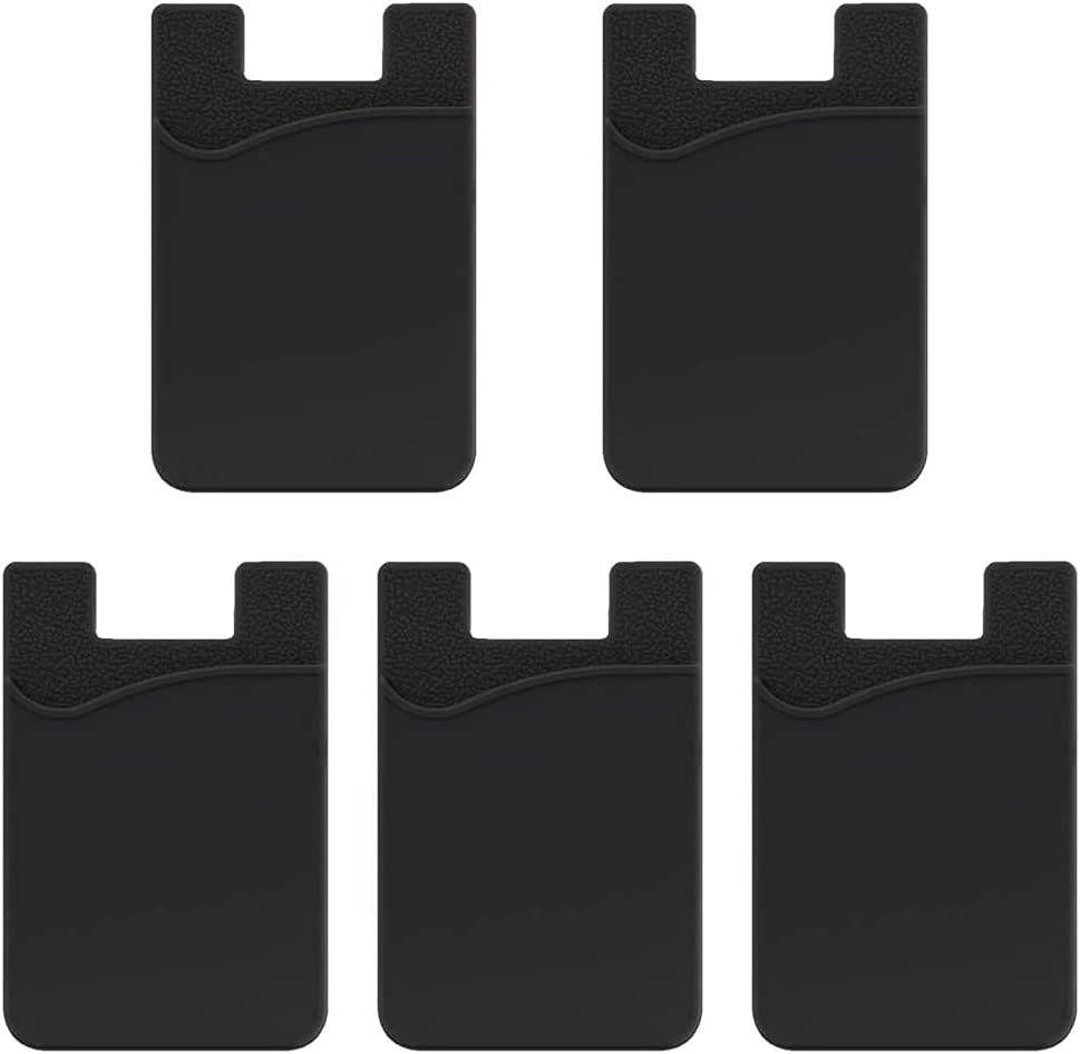 EGALO Phone Card Holder,Cell Phone Wallet,Ultra-Slim Silicone 3M Adhesive Stick-on ID Credit Card Phone Pouch Sleeve Pocket for Smartphones (iPhone/Google/Samsung/LG) 5 Pack Black