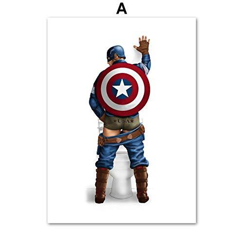 AAGG Peinture à suspendre Captain America Hulk Batman Spiderman Peinture sur toile nordique Poster et impressions murales pour salle de bain Décor A 50 x 70 cm Sans cadre