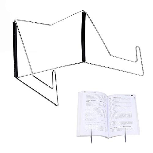 Book Holder,Hands Free Textbook Stand,Portable Adjustable Book Stands & Holders for Reading,Metal Wire Display Bookstand Book Rest for Textbook,Music Book,Easel,Ipad,Kitchen Cookbook,Recipe (Black)